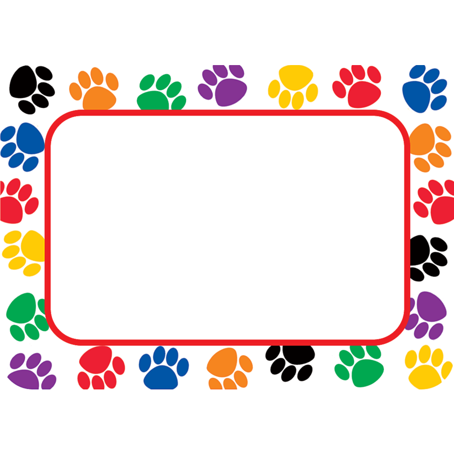photograph about Printable Name Tags for Cubbies known as Colourful Paw Prints Track record Tags/Labels
